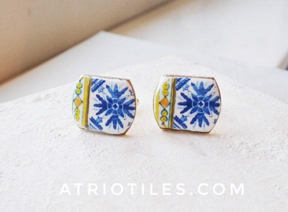 Portugal Blue Azulejo Tile Replica Cuff Links - PORTO (see actual Facade photos) Porto Royal Blue - Gift Box Included