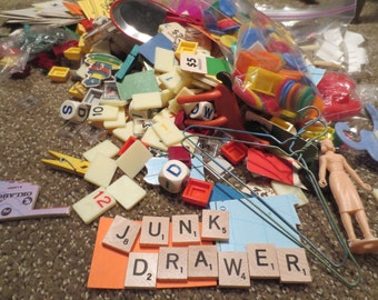 3 POUNDS Junk Drawer Findings / Toy Junk Drawer /Assemblage Lot / Mixed Media / Altertered / Salvaged / Repurpose / Supplies / Found Object