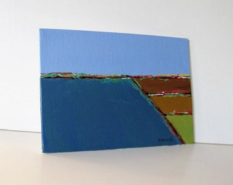 """Abstract Acrylic landscape painting on canvas, Contemporary original art, 5"""" x 7"""",  Impressionist, surreal, turquoise and brown, gift idea"""