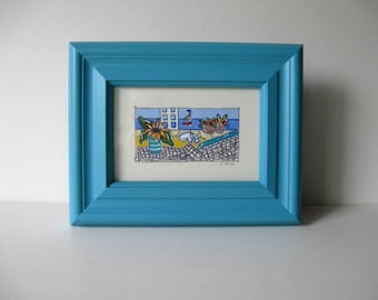 Cat painting with Sailboat and Sunflowers, Original acrylic, Beach Cottage Decor, Turquoise frame, 7x9