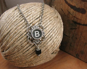 Typewriter Key Jewelry - Personalized Necklace - Lucky Clover Black Initial B Typewriter Key Pendant Necklace - Best Seller for Five Years!