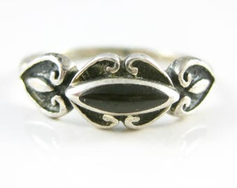 Size 7 1/2 Vintage Black Sterling Silver Ring