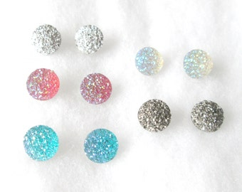 YOUR CHOICE of Color Faux Druzy 14 mm Earrings
