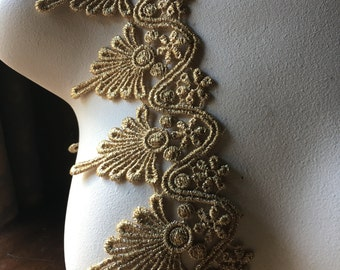 Gold Lace Metallic Venise Style Trim for Lyrical Dance, Ballet, Crowns, Costumes, Bridal, Jewelry Design GL 17