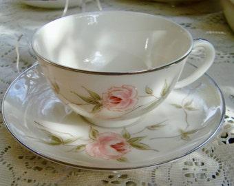 Rose Franciscan Porcelain Tea Cup & Saucer Melrose Pattern Ca 1961