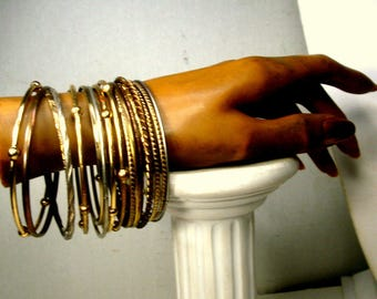 Wristload of 16 Bangles, Lot of Gold n Silver Metal Bracelets, Assorted, Normal Size Openings