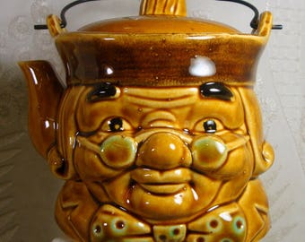 Mid Century KITSCH TEAPOT Ceramic Face with Bowtie, Ben Franklin Meets Sat. Night Live, 1950s Honey Gold Glaze