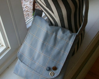 Chrissy's Messenger  Bag -  Blue Plaid