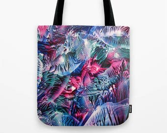 Blue, Teal, Violet Custom Tote Bag / Swirling Waves Encaustic Art on Tote / Book Tote / Market Tote / Available in 3 Sizes / Made to Order