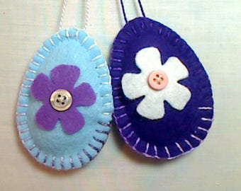 Purple/Blue Felt Easter Egg Ornaments | Spring Home Decor | Folk Art | Party Favors | Handmade |  Tree Ornaments | Set/2, #2