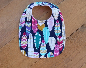 Feather Bib in Midnight / Bibs for Baby Girl