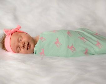 Deer Swaddle Blanket - Stretchy Jersey Knit Swaddle for Baby Girl - Pink Deer on Mint