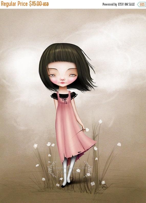 BIRTHDAY SALE Fine Art Print - 'Hazel' - Medium Sized Print 8.5x11 or 8x10 - Little Girl with White Flowers - Cute Lowbrow Art - Pink Black