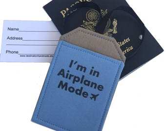 Luggage Tag Airplane Mode,  identification, bag tag, security luggage tag, available in Blue or Khaki