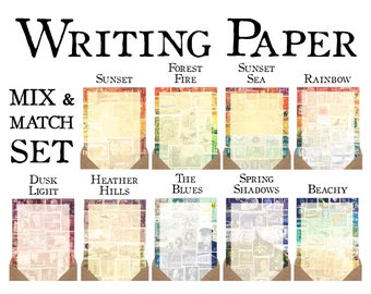 Writing Paper Set - Mix & Match | Luxury Letter Writing Set, Postal Stationery | Vintage Postage Stamp Art Print Snail Mail Penpal Notepaper