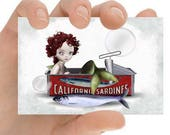 ACEO Card | Mermaid ACEO Card | Mermaid In Sardine Tin | Artist Trading Card | ACEO Print | Out Of Place