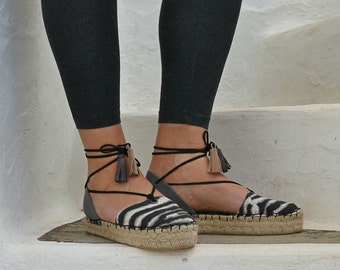 Espadrille Sandals. Lace Up Animal Print Espadrilles with Tassels. Women's Sandals. Greek Sandals. Fabric and Leather Summer Shoes