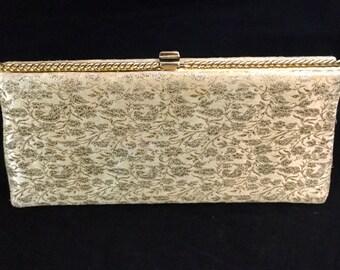 Gold Brocade, 1960, Vintage, Evening, Clutch, Handbag, Purse
