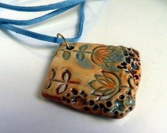 Springtime handmade Porcelain Pendant necklace, OOAK
