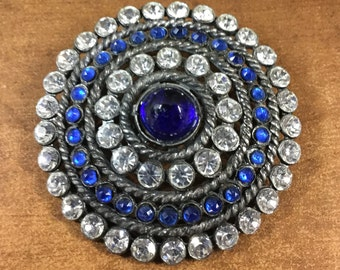 Marvellous Large Blue and Clear Rhinestone Brooch Pin Unsigned Cabochons Faceted and Smooth Stones Pot Metal Setting