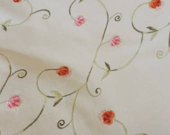 Fabric White Pin Whale Cotton Corderouy Vine and Flower Print