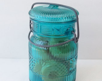 Avon Teal Blue Canning Jar, Hinged Lid Glass with Embossed Design, Vintage Cottage Chic Storage Jar Peach Soap Mason Jar Aqua Glass Canister