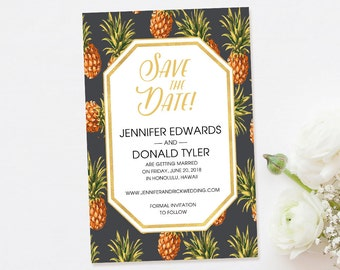 Destination Save the Date-Tropical Save the Date-Beach Save the Date-Pineapple-Photo Save the Date-Postcard Save the Date