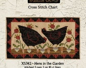 Chicken | Primitive | Cross Stitch Chart | Downloadable PDF | EPattern | Needlework | DIY | Crafts | Hens in the Garden | XS342