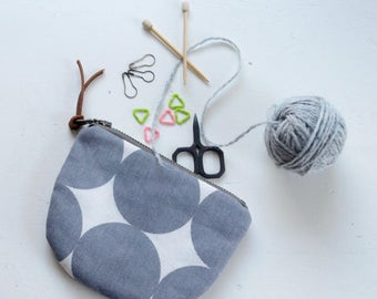 Grey Dots Padded Round Zipper Pouch / Coin Purse / Gadget / Cosmetic Bag - READY TO SHIP