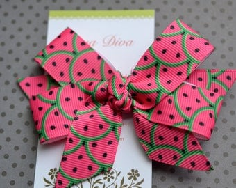 Hot Pink Watermelon Classic Diva Bow