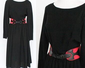 80's Wool Midi Dress / Belted Dress / Full Gathered Skirt / Black / Wide Cinch Belt / Medium to Large