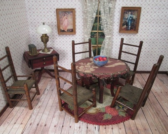 Antique Dollhouse Furniture - Parlor Table and Five Ladderback Chairs - 1 Inch Scale