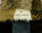"""10"""" SQUARES of FAUX FURS: Luxury Faux Fur Fabric Rabbit Red Fox Wolf Fawn Leopard Gray Brown Bear Ivory Black Mink Remnant piece prop fake"""