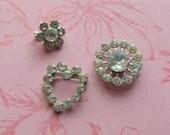 3 Tiny Vintage Rhinestone Pin Brooch Findings
