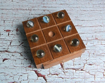 Vintage Wooden Travel Tic-Tac-Toe Marble Game
