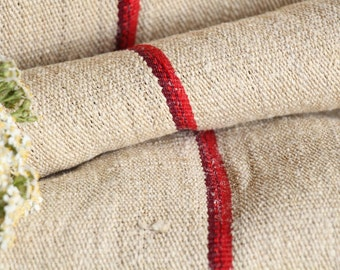 R 467 antique hemp french 천 BRIGHT and WINE RED upholstery 22.95 yards handloomed, Stairrunner,  benchcushion Beachhouse look