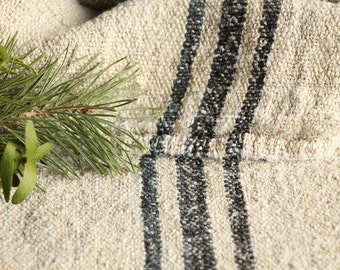 B 771 A: antique handloomed rarely BLACK 리넨 grain sack for pillows cushions runners 45.67 inches long