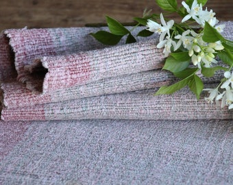RP 631 antique handloomed lin FADED ROSE 1.63yards by 21.65inches ; upholstery fabric wool and lin cushion pillow