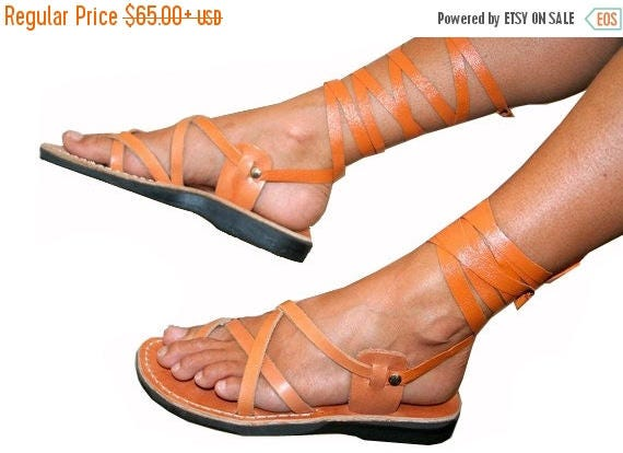 15% Off Caramel Gladiator Leather Sandals For Men & Women (triple Design) - Handmade Sandals, Unisex Gladiator Sandals, Natural Leather Sand