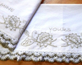 Yours and Mine Pillowcases with Waterlilies, Pretty Brown and White Crochet