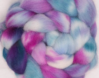 Hand dyed Cheviot roving, spinning wool, Hand painted roving, tops, fiber, felting wool, hand painted British wool, fibre, fiber, Sublime