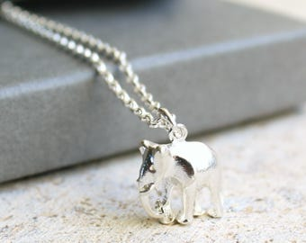 Silver Elephant Necklace, Silver Charm Necklace, Elephant Pendant, Free UK Shipping