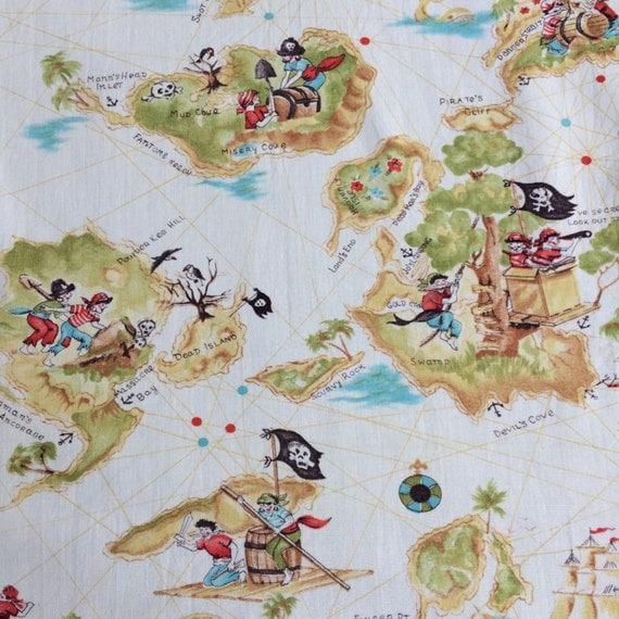 Vintage novelty print fabric pirate children skull treasure for Kids pirate fabric