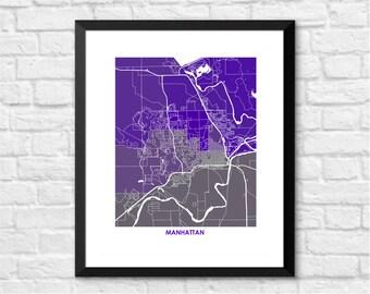 Manhattan KS Map Print.  Choose your colors and size. Kansas State University Wildcat Graduation Gift.