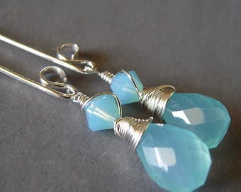 Aqua Chalcedony Earrings, Long Dangle Chalcedony Sterling Silver Wire Wrapped Earrings, Pacific Opal Swarovski Crystal Hand Made