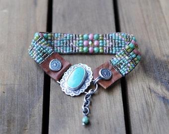 Sterling Silver Turquoise Bracelet, Turquoise Leather Beaded Wrap Bracelet, Silver Bead Woven Bracelet