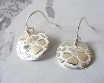 Fine Silver Poppy Print Earrings