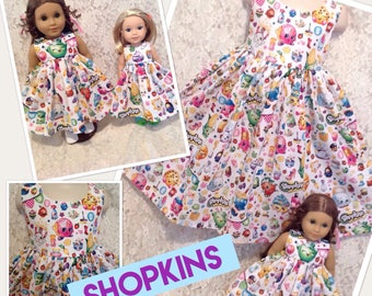 Shopkins * Matching dress CUSTOM SIZES 2 3 4 5 6 7 8 9 10 12 14 & American Girl Doll, Bitty Baby, Wellie Wishers My Twinn - your choice