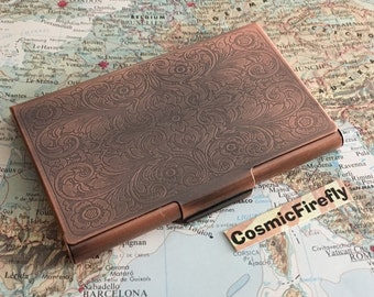 Card Holder Antiqued Copper Business Card Case Victorian Steampunk Card Holder