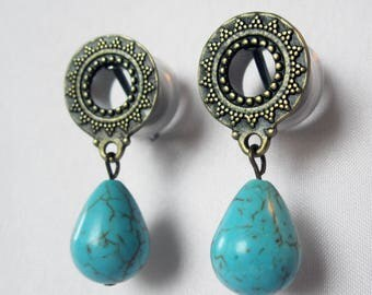 "Pair of Antique Brass Tribal Tunnels w/ Turquoise Beads - Bohemian Gauges -Boho- 0g, 00g, 7/16"", 1/2"", 9/16"" (8mm, 10mm, 11mm, 12mm, 14mm)"